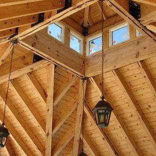 Inspiration för en stor takterrass, med takförlängning