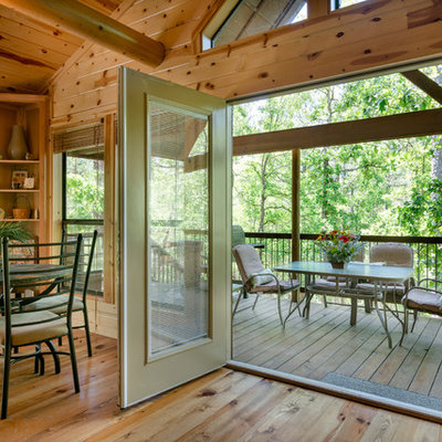 Inspiration for a rustic deck remodel in Oklahoma City