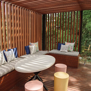 Inspiration for a contemporary deck in Brisbane with a pergola.