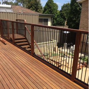 Inspiration for a modern backyard deck remodel in Sydney with no cover