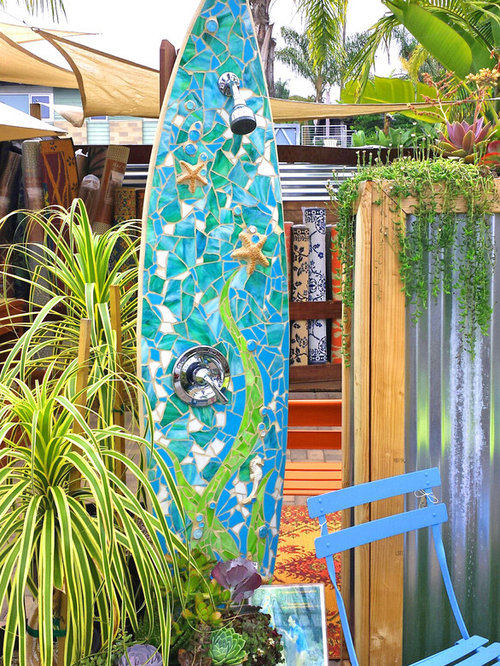 Surfboard mirror home design ideas pictures remodel and for Diy outdoor shower surfboard
