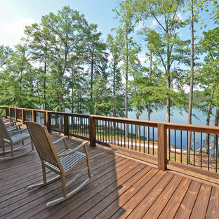 Design ideas for a large arts and crafts backyard deck in Atlanta with no cover.