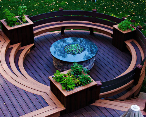 Circular Fire-Pit Deck with Screened In Gazebo.