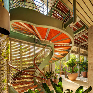 Inspiration for a mid-sized tropical courtyard deck in Tampa with a container garden.