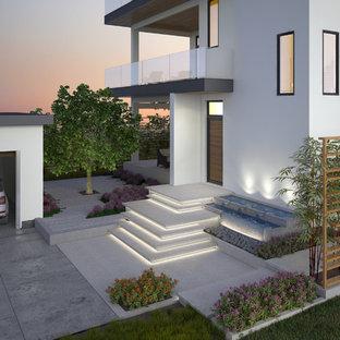 Esempio di una grande terrazza moderna dietro casa con fontane e un tetto a sbalzo