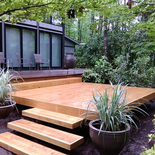 Inspiration for a small transitional backyard deck in Raleigh with no cover.