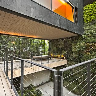 Foto på en funkis terrass, med en vertikal trädgård