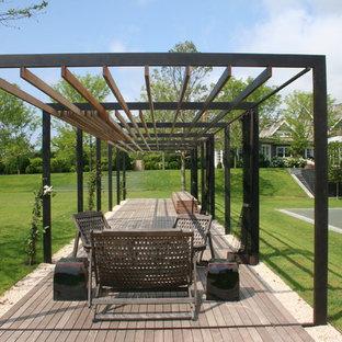 Design ideas for a contemporary deck in Boston with a pergola.