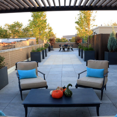 Example of a large trendy rooftop deck container garden design in Chicago with a pergola