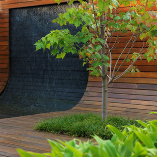 This is an example of a contemporary rooftop deck in Melbourne with a water feature.