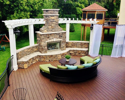 outdoor deck fireplaces. Inspiration for a timeless deck remodel in Minneapolis with pergola Deck Fireplace  Houzz