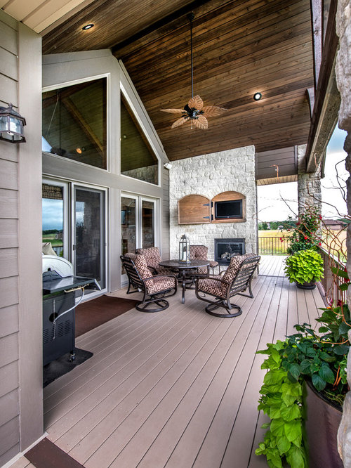 Covered Vaulted Ceiling Deck Houzz