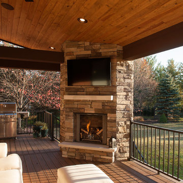 Covered Outdoor Living Fireplace