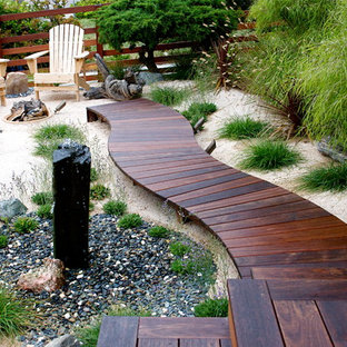 Beach style deck in San Diego with a water feature.