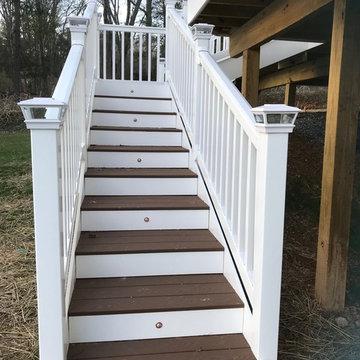 Custom Designed Deck - Vinyl Railings, Solar Post Caps & Stair Lights