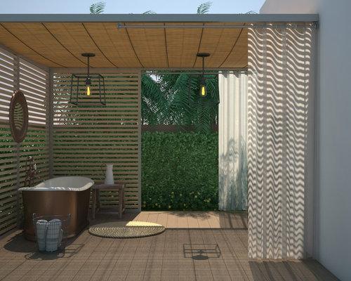 rustikale Gartendusche Sichtschutz Holz bauen Design von Ellen Kennon