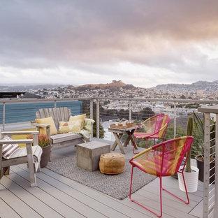 Ispirazione per una terrazza minimal di medie dimensioni, sul tetto e sul tetto con nessuna copertura