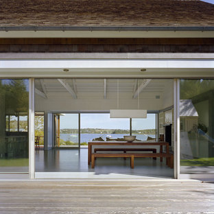 Inspiration for a beach style deck remodel in New York with no cover