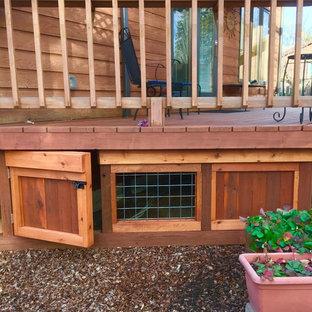 Réalisation d'une terrasse avec jupe de finition.
