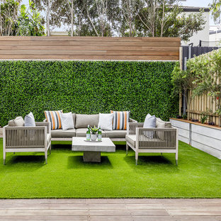 Design ideas for a contemporary backyard deck in Sydney with no cover.