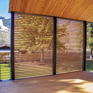 Cette image montre une terrasse arrière avec des solutions pour vis-à-vis et une extension de toiture.