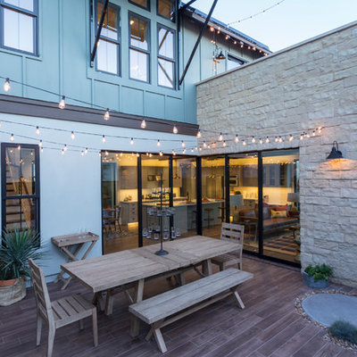 Beach style backyard deck photo in San Diego with no cover