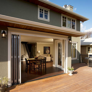 G Inspiration For A Large Craftsman Backyard Deck Remodel In Calgary With An  Awning