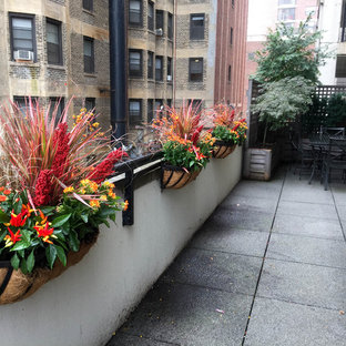 Large elegant rooftop deck container garden photo in Chicago with no cover