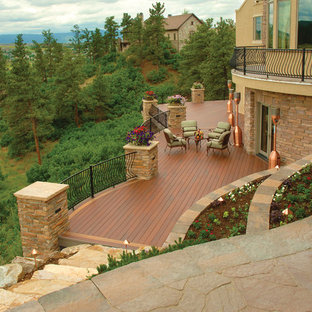Example of a large mountain style deck design in Charlotte