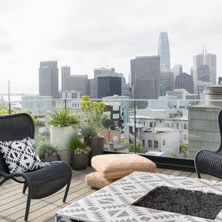 Mittelgroße, Unbedeckte Nordische Dachterrasse mit Feuerstelle in San Francisco