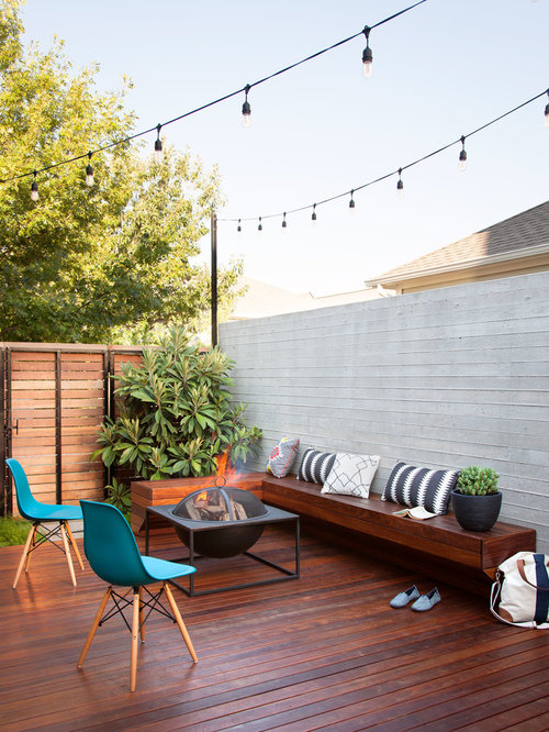 Deck   Small Contemporary Backyard Deck Idea In Austin With A Fire Pit