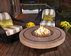 """Firepits - The new 48"""" round Sahara Stone Oriflamme Fire Table from Designing Fire! Check out all the new Oriflamme products for next year coming to www.AllBackyardFun.com soon!"""