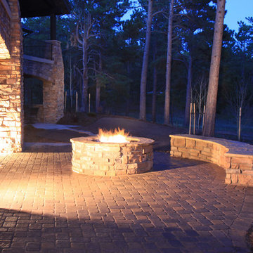 Gas Fire Pit and Seating Wall