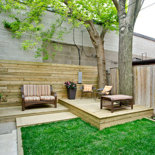 This is an example of a small contemporary deck in Toronto with no cover.