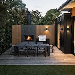 Idee per una terrazza minimalista di medie dimensioni e dietro casa con nessuna copertura