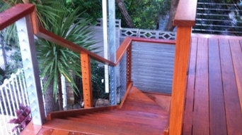 Hardwood Deck with Stairs & Tension Wire