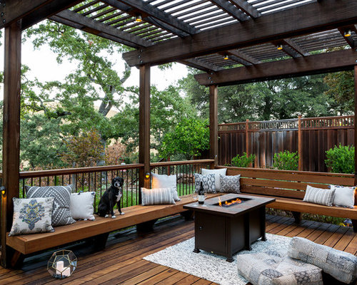 example of a large classic backyard deck design in san francisco with a fire pit and - Deck Railing Design Ideas