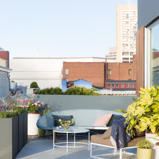 This is an example of a midcentury rooftop deck in San Francisco with a container garden and no cover.