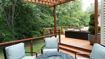 Ipe Deck Seating area with Fire Pit and Pergola