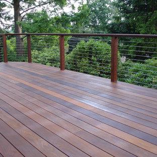 Cette photo montre une terrasse latérale tendance de taille moyenne avec aucune couverture.
