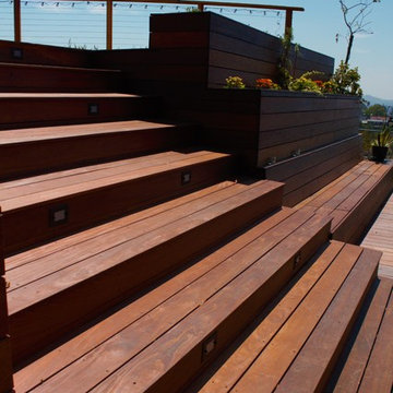 IPE Split level deck with Lighted stairs and stainless steel cable railing