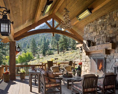 Rustic deck design ideas remodels photos for Rustic covered decks