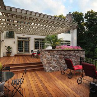 Ispirazione per grandi terrazze e balconi design dietro casa con un giardino in vaso e una pergola