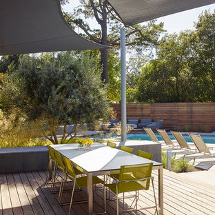 Diseño de terraza contemporánea, en patio trasero, con toldo