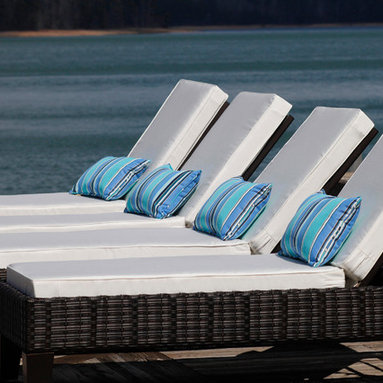 Lake House Cushions - Sunny chaise lounge seating on the dock is made even more relaxing with the addition of comfy custom chaise lounge cushions in Sunbrella Natural and supportive lumbar pillows in Sunbrella Dolce Oasis.