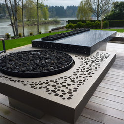 Riverfront FIre Sculpture - Design & metal by Aztec Artistic Productions Ltd.