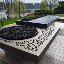 Riverfront FIre Sculpture - Design & metal by Aztec Artistic Productions Ltd.
