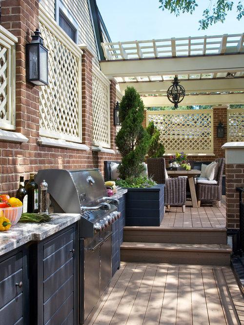 klassische terrasse mit outdoor k che ideen f r die