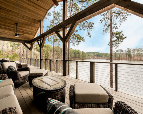 Example Of A Large Minimalist Backyard Dock Design In Atlanta With A Roof  Extension