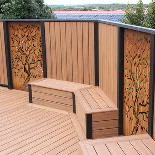Large scandi back terrace and balcony in Melbourne with an outdoor shower.